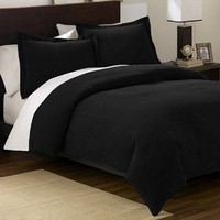 Chezmoi Collection 3 Pieces Solid Black Soft Microsuede Comforter with Pillowcase Set King Size Bed