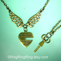 2 necklaces heart pendant with wings & key by RingRingRing on Etsy