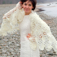 Hairpin lace shawl in white by CozySeason on Etsy