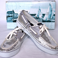 SPERRY TOP-SIDER BAHAMA SILVER SEQUINS BOAT SHOES 7 MACYS RETURN-PERFECT! $75