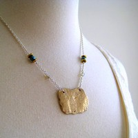 Organic Shaped Recycled Bronze Zinnia Pendant Necklace with Beaded Chain