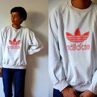 Vtg Adidas Logo Red &amp; White Old School Cotton Sweatshirt