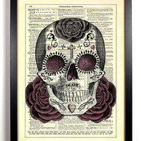 Sugar Skull Day of the Dead, Vintage Dictionary 8 x 10