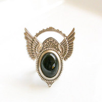Silver Wings Gothic Ring Black Onyx Cabochon by LeBoudoirNoir