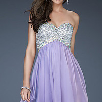 Short Strapless Empire Waist Dress