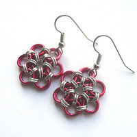 Valentine's Day earrings, Red flower earrings, Chainmaille, Japanese 12-in-2 weave, Red and silver jewelry