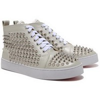 Christian Louboutin Louis Studded Leather Sneakers Silver - $180.00