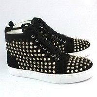 Christian Louboutin Louis Gold Studded Hi-Top Sneakers Black - $180.00