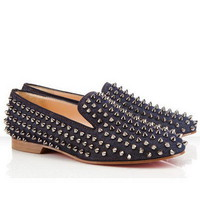 Christian Louboutin Rollerball Spikes Loafers Blue - $210.00