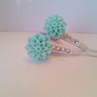 So cute LT Teal Dahlia Flower Earbuds With Swarovski Crystals
