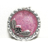 Pretty In Pink Garden Bottlecap Resin Pendant