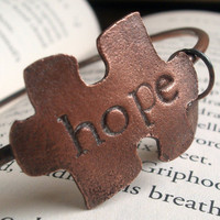 HOPE Autism Awareness Bangle by torchandhammer on Etsy