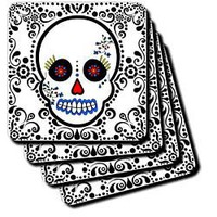 Janna Salak Designs Day of the Dead Skull Dia de los Muertos Sugar Sku Coaster, Soft, Set of 4