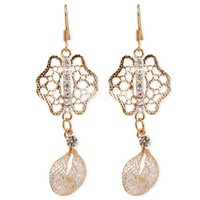Fashion Gold Tone Clear Crystal Studded Filigree Net Dangle Earrings at Online Cheap Fashion Jewelry Store Gofavor