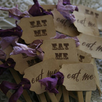Alice in Wonderland cupcake toppers- EAT ME- wedding, tea party, buffet table, party picks, sandwich picks- aged, shabby
