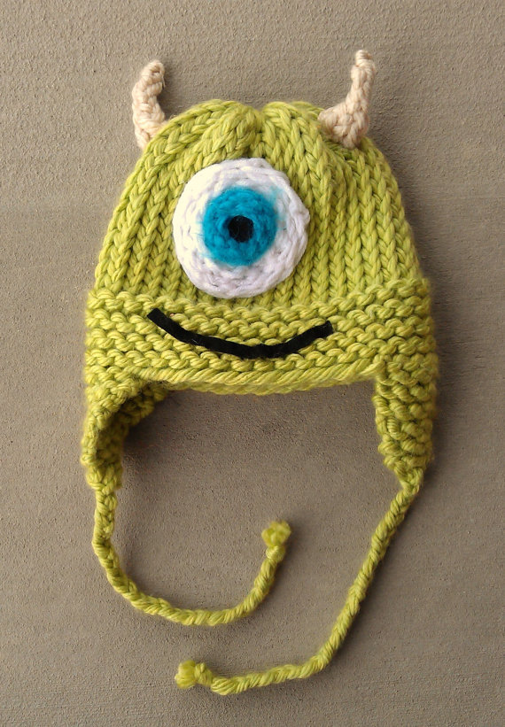 READY TO SHIP mike monsters inc knit hat from ElliotteGrayDesigns