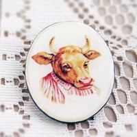 Cow mom brooch by CitrusCat
