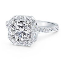 Engagement Ring - Cushion Diamond Engagement Ring Halo pave in 14K White Gold - ES874CUWG