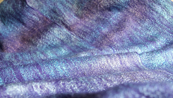 wool felted scarf  Lavender fields long felt women by manonknits