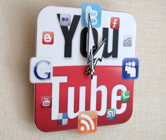 YouTube Icon Wall Clock