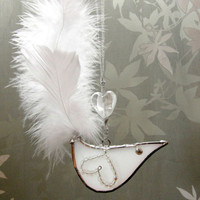 White Bird Stained Glass Suncatcher Handmade by FleetingStillness