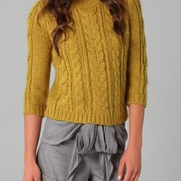 Tibi 3/4 Sleeve Cable Knit Sweater