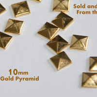 DIY Studs - 500 Gold 10mm Flat Back Pyramid Studs - Iron On, Hot Fix, or Glue On - Pyramids for iPhone Case or Crafts
