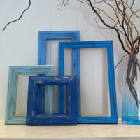 Vintage Frames, Baby Room Decor, Blue Decor, Upcycled, Painted Frames, Funky Home Decor, Beach Decor