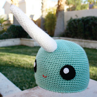 Narwhal Hat: Kawaii Japanese -ish Handmade Crochet Beanie Hat