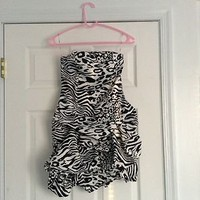 Zebra Print Party Dress Size 5 Black And White