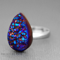 Titanium Fire Blue Druzy Natural Stone Ring With Silver Adjustable Band 5 - 9