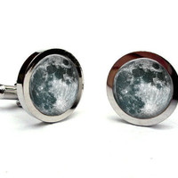 Full Moon Cuff Links Silver Tone Glass Dome Art Cufflinks Handcrafted Accessories by Lizabettas