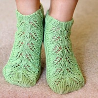 Green handknitted women ankle socks cotton and silk by katerynaG