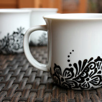 White Teacups with Black Henna Design - Set of 3