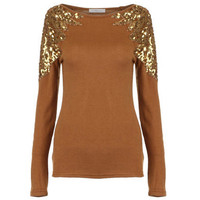 Sequin Ginger Knitted T-shirt [NCTD0026] - $32.00 :