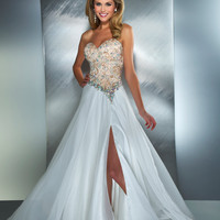 Mac Duggal Prom 2013 - Ivory Nude Strapless Chiffon Gown - Unique Vintage - Cocktail, Pinup, Holiday & Prom Dresses.
