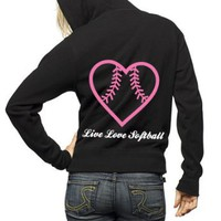 Live Love Softball Full Zip Hooded Sweatshirt