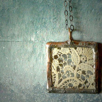 Antique French Lace Handmade Glass Pendant by RenataandJonathan