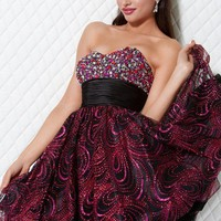 Jewel and Print Mini Ball Gown, Style b457