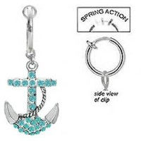 Fake Belly Navel Non Clip on Aqua Lt Blue Paved Gem Anchor Nautical Sailor dangle Ring: Jewelry: Amazon.com
