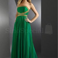 Hunter Green Amazing A-line Strapless Beaded Pleated Floor Length Chiffon Homecoming Dress from SinoSpecial
