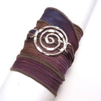 Silk Ribbon Bracelet with Circle Connector by charmeddesign1012