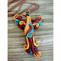 Phoenix Pendant Necklace  Polymer clay bird jewelry  by JustClayin