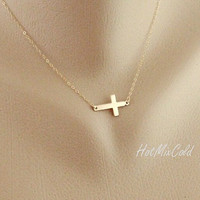 Sideways cross Necklace Cross Charm Necklace 14k by hotmixcold