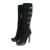 Christian Louboutin Black Suede Buckle Platform Boot - $230.00