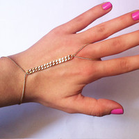 Gold Ring Bracelet - Elegant Hand Harness Slave Bracelet Hand Piece Hand Chain