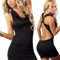 Simple Black Dress - Sexy Curve Hugging Halter Style - Extra Large