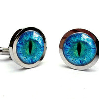 Cat Eye Cufflinks Silver Glass Dome Art Cufflinks Handcrafted Accessories by Lizabettas