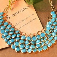 Fashion Blue Layered Gem Beads Bib Necklace at Gofavor
