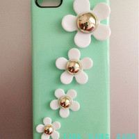 Mint Green Flowers Iphone 4 Case Ip.. on Luulla